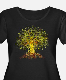 Tree Art Women's Plus Size Dark Scoop Neck T-Shirt