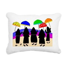 Nuns With Umbrellas Rectangular Canvas Pillow