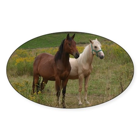 Andalusians in field Oval Sticker