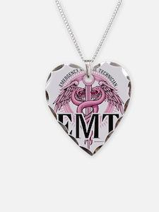 EMT-Pink-Caduceus Necklace Heart Charm