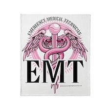 EMT-Pink-Caduceus Throw Blanket