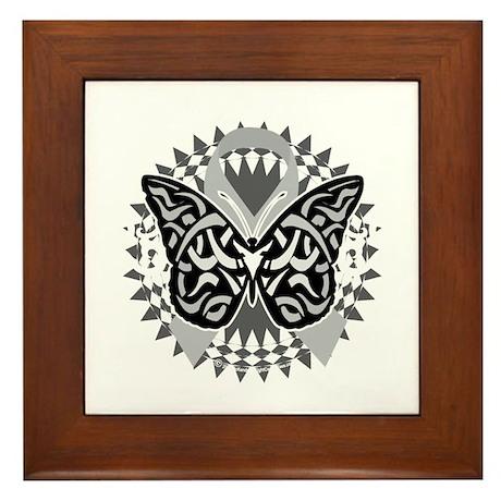 Brain-Cancer-Butterfly-Tribal-blk Framed Tile
