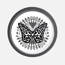 Brain-Cancer-Butterfly-Tribal-blk Wall Clock