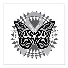 "Brain-Cancer-Butterfly-T Square Car Magnet 3"" x 3"""