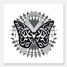 """Brain-Cancer-Butterfly-T Square Car Magnet 3"""" x 3"""""""