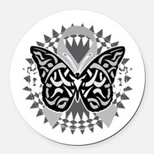 Brain-Cancer-Butterfly-Tribal-blk Round Car Magnet