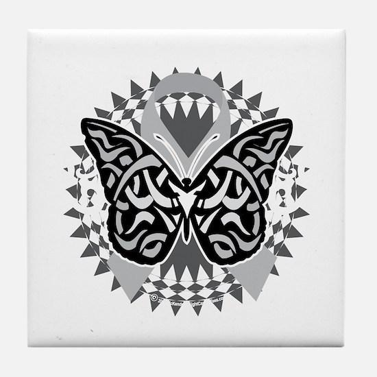 Brain-Cancer-Butterfly-Tribal-blk Tile Coaster