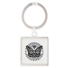 Brain-Cancer-Butterfly-Tribal-blk Square Keychain