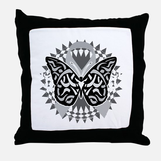 Brain-Cancer-Butterfly-Tribal-blk Throw Pillow