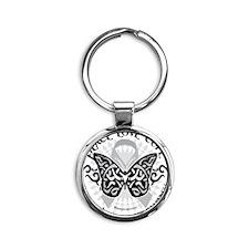 Brain-Cancer-Butterfly-Tribal Round Keychain