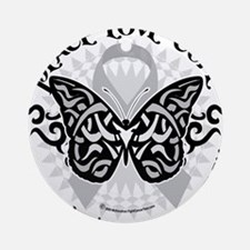Brain-Cancer-Butterfly-Tribal Round Ornament