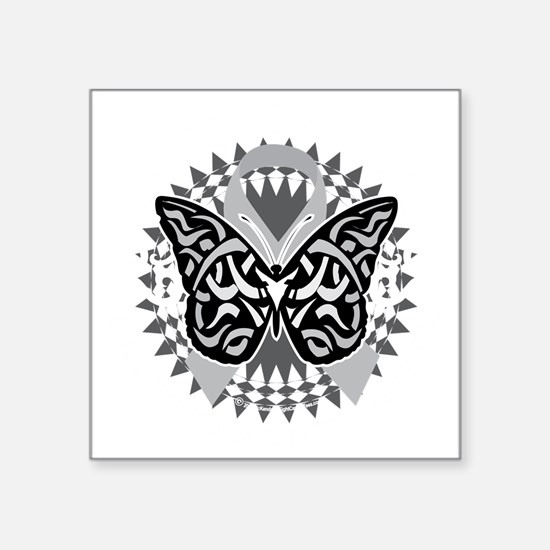 "Brain-Cancer-Butterfly-Trib Square Sticker 3"" x 3"""