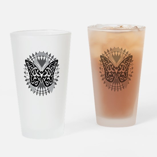 Brain-Cancer-Butterfly-Tribal-blk Drinking Glass