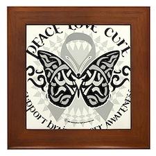 Brain-Cancer-Butterfly-Tribal Framed Tile