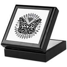Brain-Cancer-Butterfly-Tribal-blk Keepsake Box
