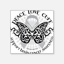 "Brain-Cancer-Butterfly-Trib Square Sticker 3"" x 3"""