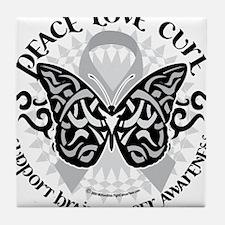 Brain-Cancer-Butterfly-Tribal Tile Coaster