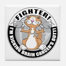 Brain-Cancer-Cat-Fighter Tile Coaster