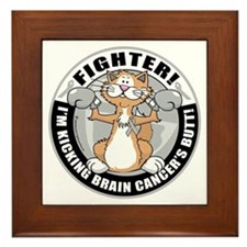 Brain-Cancer-Cat-Fighter Framed Tile