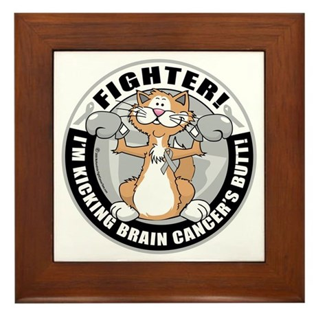 Brain-Cancer-Cat-Fighter Framed Tile