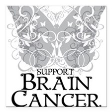 "Brain-Cancer-Butterfly Square Car Magnet 3"" x 3"""