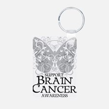 Brain-Cancer-Butterfly Aluminum Photo Keychain