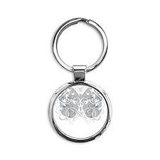 Brain-Cancer-Butterfly-blk Round Keychain