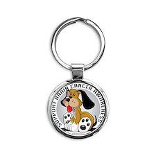 Brain-Cancer-Dog Round Keychain