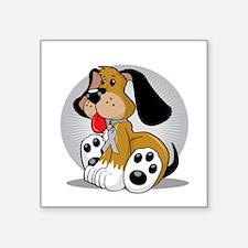 "Brain-Cancer-Dog-blk Square Sticker 3"" x 3"""