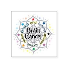 "Brain-Cancer-Lotus Square Sticker 3"" x 3"""