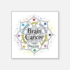 "Brain-Cancer-Lotus Square Sticker 3"" x 3"""