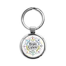 Brain-Cancer-Lotus Round Keychain