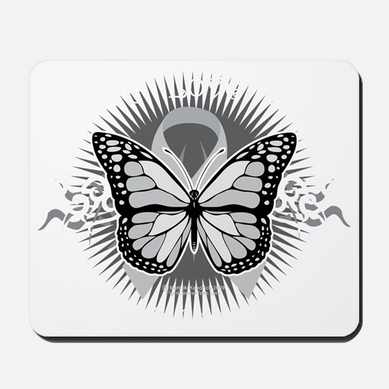 Brain-Cancer-Tribal-Butterfly-blk Mousepad