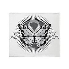 Brain-Cancer-Tribal-Butterfly-blk Throw Blanket