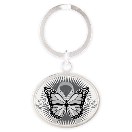 Brain-Cancer-Tribal-Butterfly-blk Oval Keychain