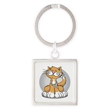 Paws-for--Brain-Cancer-Cat-blk Square Keychain