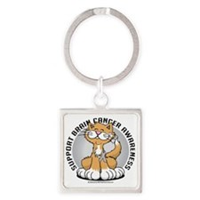 Paws-for--Brain-Cancer-Cat Square Keychain