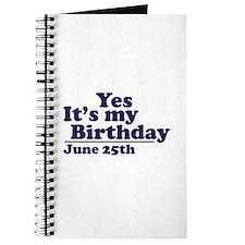 June 25 Birthday Journal