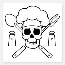 "chef-pirate-T Square Car Magnet 3"" x 3"""