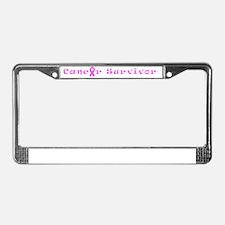 Pink Cancer Survivor Designer License Plate Frame
