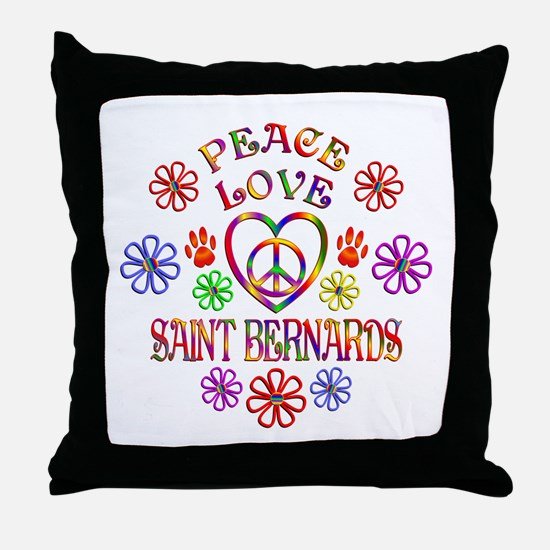 Peace Love Saint Bernards Throw Pillow