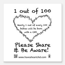 """1 out of 100 black Square Car Magnet 3"""" x 3"""""""