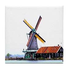 Dutch energy wind mill Tile Coaster