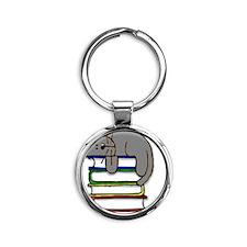 book kitty Round Keychain