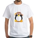 Sunflower Hat Clay Penguin White T-Shirt