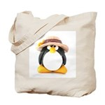 Sunflower Hat Clay Penguin Tote Bag