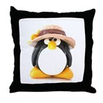 Sunflower Hat Clay Penguin Throw Pillow