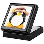 Sunflower Hat Clay Penguin Keepsake Box