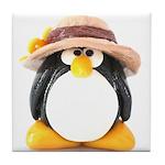 Sunflower Hat Clay Penguin Tile Coaster