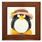 Sunflower Hat Clay Penguin Framed Tile